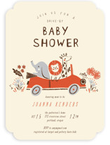 This is a yellow baby shower invitation by Vivian Yiwing called Drive in the Jungle with standard printing on signature in standard.