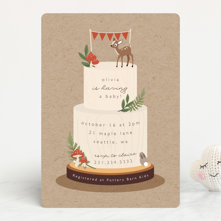 """""""Woodland"""" - Whimsical & Funny Baby Shower Invitations in Birch by Caitlin Considine."""