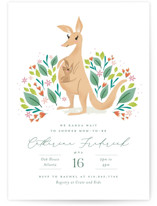 This is a green baby shower invitation by Jackie Crawford called Cute little Kangaroo with standard printing on signature in standard.