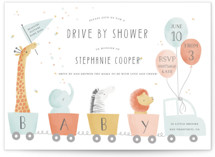 This is a colorful baby shower invitation by Sarah Knight called Drive by Baby with standard printing on signature in standard.