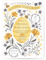 This is a yellow baby shower invitation by Sarah Knight called Mama To Bee with standard printing on signature in standard.