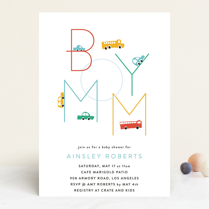 """""""Boy Mom"""" - Funny Baby Shower Invitations in Engine Red by Kimberly FitzSimons."""