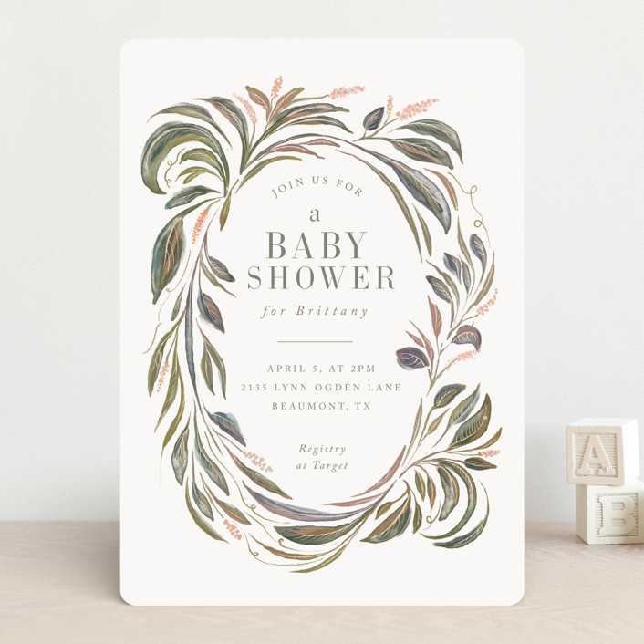 """""""Botanical Frame"""" - Baby Shower Invitations in Sage by Lucrecia."""