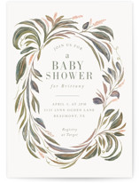 This is a green baby shower invitation by Lucrecia called Botanical Frame with standard printing on signature in standard.