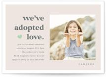 This is a pink baby shower invitation by Louise Kay called We Adopted Love with standard printing on signature in standard.