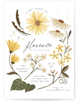 This is a yellow baby shower invitation by Vivian Yiwing called Flower Shower with standard printing on signature in standard.
