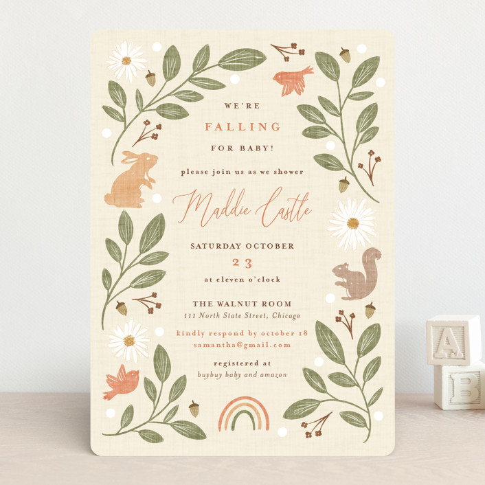 """""""Falling for Baby"""" - Whimsical & Funny Baby Shower Invitations in Acorn by Erin German."""