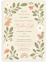 This is a beige baby shower invitation by Erin German called Falling for Baby with standard printing on signature in standard.
