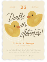This is a yellow baby shower invitation by Adelyn T. called Double Quack with standard printing on signature in standard.