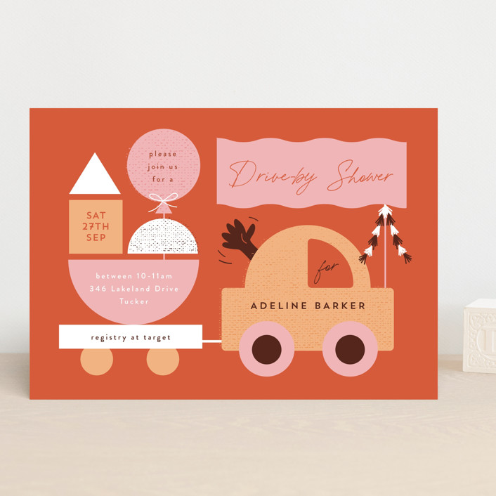 """""""Toy Car Parade"""" - Preppy Baby Shower Invitations in Gumdrops by Corinne Malesic."""