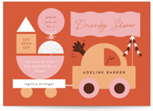 This is a orange baby shower invitation by Corinne Malesic called Toy Car Parade with standard printing on signature in standard.