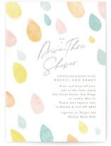 This is a yellow baby shower invitation by Creo Study called Raindrops with standard printing on signature in standard.