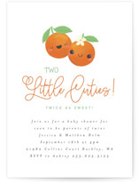 This is a orange baby shower invitation by Itsy Belle Studio called Two Little Cute with standard printing on signature in standard.