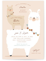This is a beige baby shower invitation by Susan Zinader called llama mama with standard printing on signature in standard.