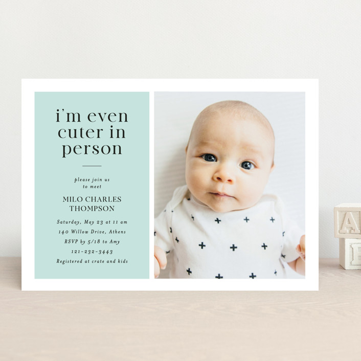 """""""Cuter In Person"""" - Funny Baby Shower Invitations in Turquoise by Cindy Reynolds."""