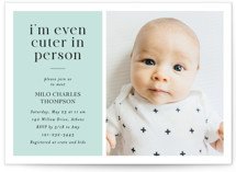 This is a blue baby shower invitation by Cindy Reynolds called Cuter In Person with standard printing on signature in standard.