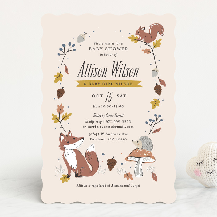 """""""Autumn Forest"""" - Whimsical & Funny Baby Shower Invitations in Marigold by Melissa Egan of Pistols."""