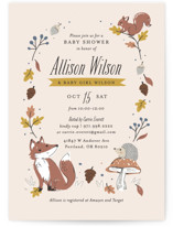This is a yellow baby shower invitation by Melissa Egan of Pistols called Autumn Forest with standard printing on signature in standard.