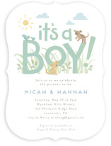 This is a green baby shower invitation by Jennifer Wick called Little pups with standard printing on signature in standard.
