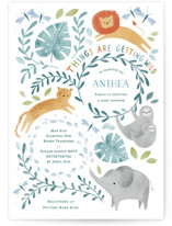 This is a green baby shower invitation by Sarah Knight called Its getting Wild with standard printing on signature in standard.