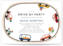 This is a colorful baby shower invitation by Grae called Drive By Parade with standard printing on signature in standard.