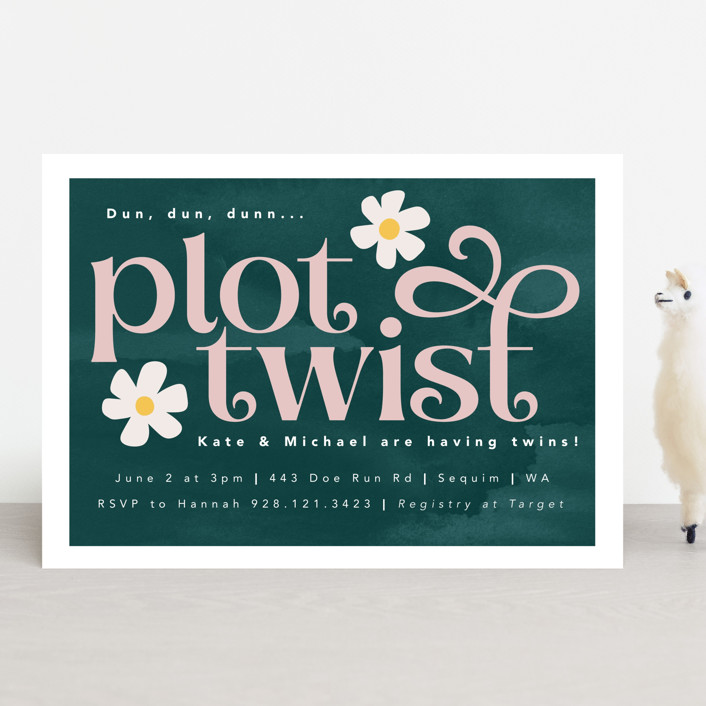 """""""Plot Twist"""" - Funny Baby Shower Invitations in Forest by Caitlin Considine."""