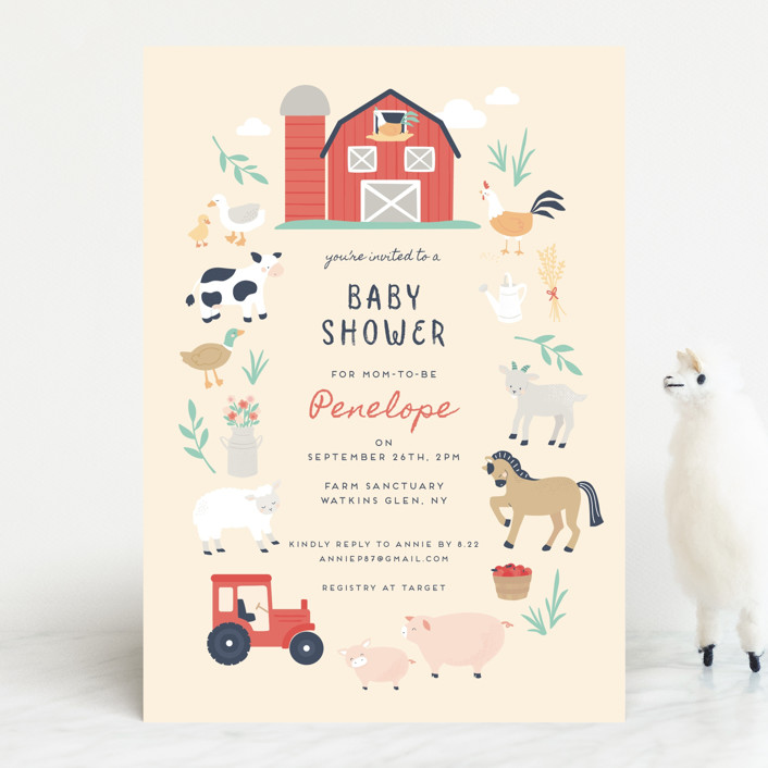 """""""barn baby"""" - Whimsical & Funny Baby Shower Invitations in Butter by peetie design."""