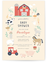 This is a yellow baby shower invitation by peetie design called barn baby with standard printing on signature in standard.