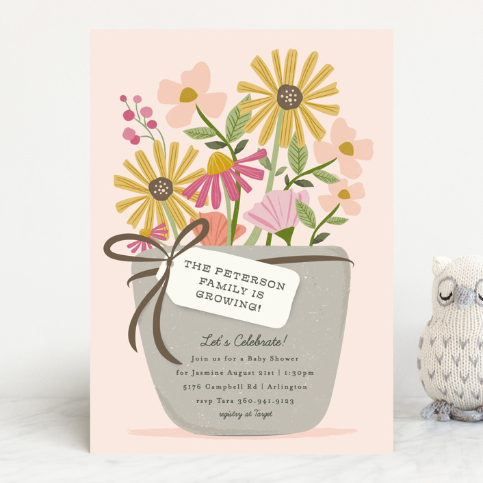 """""""growing flower pot"""" - Baby Shower Invitations in Rose by Karidy Walker."""