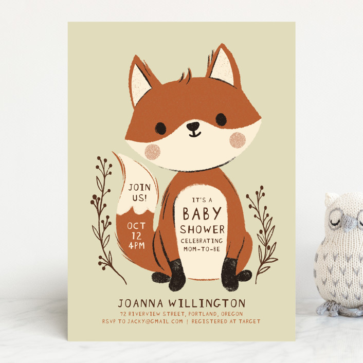 """""""Baby Fox"""" - Whimsical & Funny Baby Shower Invitations in Forest by Vivian Yiwing."""