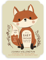 This is a green baby shower invitation by Vivian Yiwing called Baby Fox with standard printing on signature in standard.