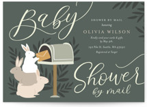 This is a green baby shower invitation by Y Studio called Baby shower by mail with standard printing on signature in standard.
