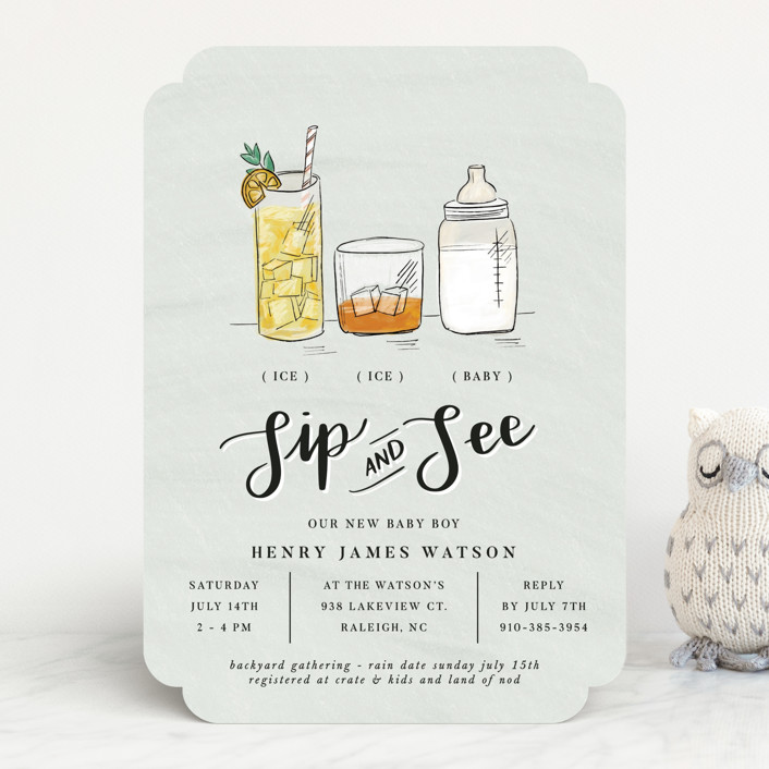 """""""Ice ice baby"""" - Whimsical & Funny Baby Shower Invitations in Pool by Corie Page."""