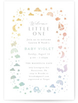 This is a green baby shower invitation by Jennifer Wick called Ethereal stars with standard printing on signature in standard.