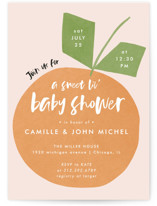 This is a orange baby shower invitation by Lehan Veenker called Cutie Time with standard printing on signature in standard.