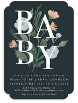 This is a black baby shower invitation by Hannah Williams called Baby Florals with standard printing on signature in standard.