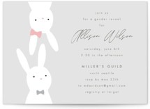This is a grey baby shower invitation by AK Graphics called Bunny Reveal with standard printing on signature in standard.
