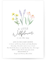 This is a pink baby shower invitation by Itsy Belle Studio called She's a Wildflower with standard printing on signature in standard.