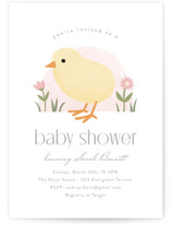 This is a pink baby shower invitation by Carolyn MacLaren called Little Chick with standard printing on signature in standard.
