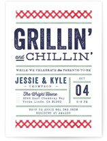 This is a white baby shower invitation by Robert and Stella called Grill & Chill with standard printing on signature in standard.