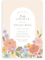 This is a pink baby shower invitation by Jennifer Wick called Petite Garden with standard printing on signature in standard.