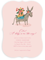 This is a pink baby shower invitation by Jackie Crawford called Ole baby Donkey with standard printing on signature in standard.