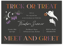 This is a black baby shower invitation by Jackie Crawford called Trick or Treat Meet and Greet with standard printing on signature in standard.