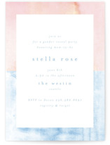This is a blue baby shower invitation by AK Graphics called Surprise with standard printing on signature in standard.