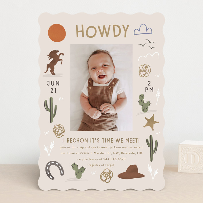 """Howdy"" - Rustic Baby Shower Invitations in Tumbleweed by Angela Garrick."