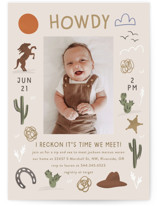This is a beige baby shower invitation by Angela Garrick called Howdy with standard printing on signature in standard.