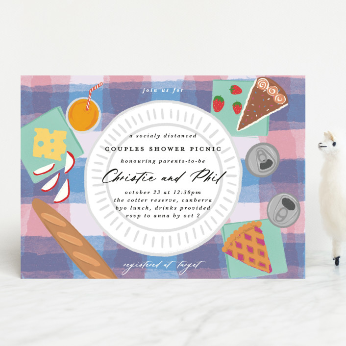 """""""Picnic Party"""" - Whimsical & Funny Baby Shower Invitations in Softly by Catherine Culvenor."""