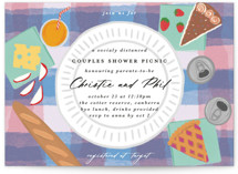 This is a colorful baby shower invitation by Catherine Culvenor called Picnic Party with standard printing on signature in standard.