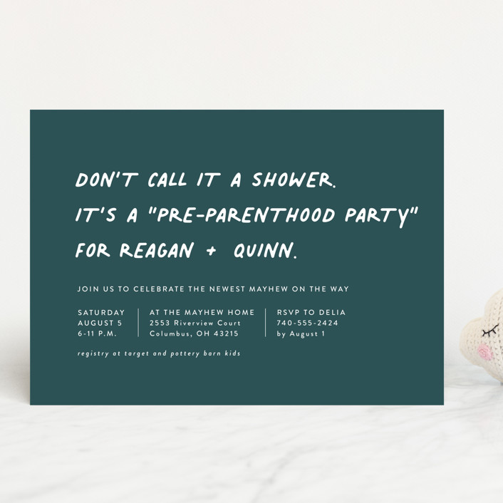 """""""Not a shower"""" - Funny Baby Shower Invitations in Jungle by Lea Delaveris."""