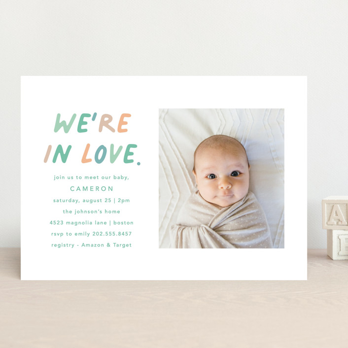 """""""We're In Love"""" - Modern Baby Shower Invitations in Mint by Louise Kay."""